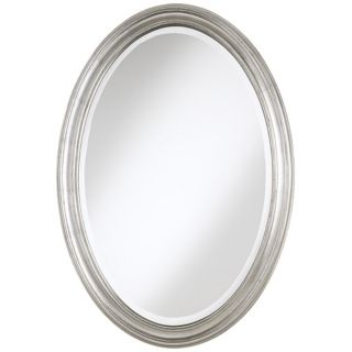 "Flanders Antique Silver Finish Oval 34"" High Wall Mirror   #T4630"