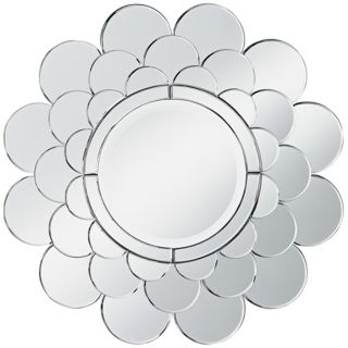 "Clear Petal Sunburst Round 28 1/2"" Wide Wall Mirror   #T4584"