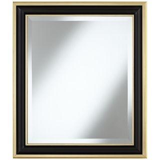 "Matte Black 29 1/4"" High Gold Trim Wall Mirror   #W4071"