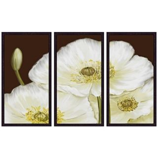 White Poppies Triptych Set of 3 Flower Wall Art   #Y1572