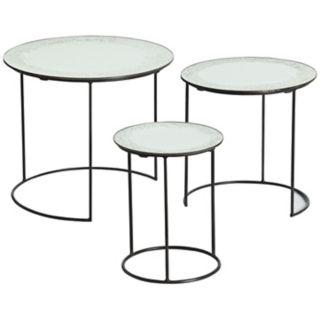 Arteriors Home Set of 3 Osmond Iron/Mirror Nesting Tables   #U2299