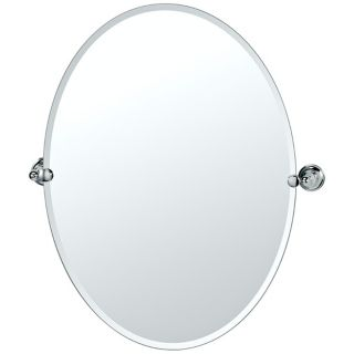 "Gatco Tiara Chrome 26 1/2"" High Frameless Oval Wall Mirror   #P5330"