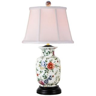 Rose and Floral Urn Porcelain Table Lamp   #V2465