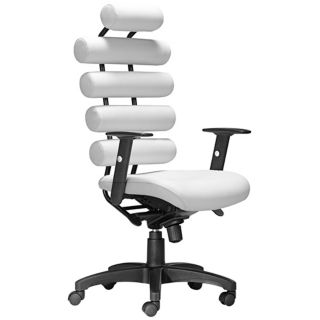 Zuo Unico White Leatherette Office Chair   #T2454