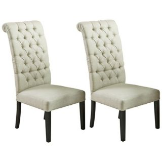 Set of 2 French Tufted Fabric Dining Chairs   #X9172