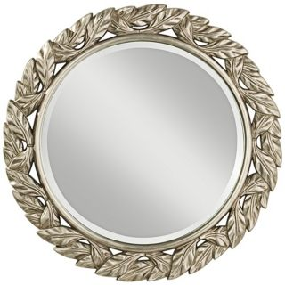 "Murray Feiss Leaves Round 30"" High Framed Wall Mirror   #W5531"