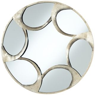 "Vento Antique Silver Finish 30"" Wide Round Wall Mirror   #V1608"