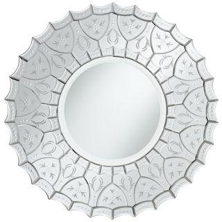 "Venetian Scalloped Edge 31 1/2"" Wide Round Wall Mirror   #X5857"