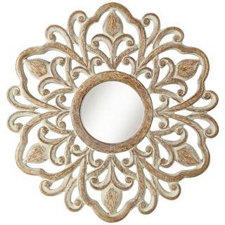 "Provencal Sunburst 32"" High Tan Whitewash Wall Mirror   #W3904"