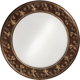 Cassis Brown and Antique Gold Round 42 Wide Wall Mirror   #H6331