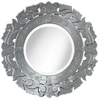 "Venetian Tulip 30"" Round Etched Wall Mirror   #W4221"