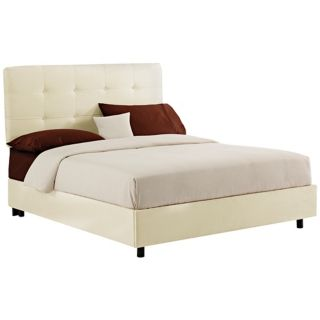 White Microsuede Tufted Bed   #N6210