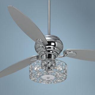 "60"" Spyder Chrome Ceiling Fan with Crystal Discs Light Kit   #R2180 R2447 V0392"