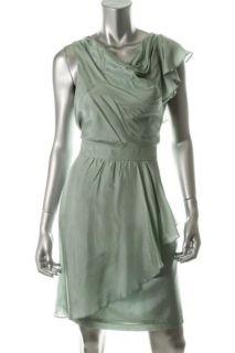 Julie Dillon New Blue Silk Asymmetrical Sleeveless Wear to Work Dress