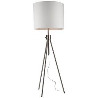 Artcraft Mercer Street Chrome Tripod Floor Lamp White Shade   #W5747