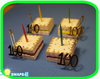 HAPPY 100th BIRTHDAY Cake Slice for Girl Scouts SWAPS Craft Kit