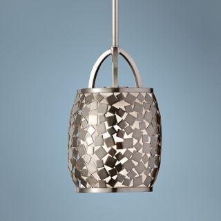 "Murray Feiss Zara 7 1/4"" Wide Brushed Steel Pendant Light   #X4097"