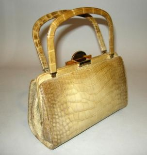 Petite Smart Judith Leiber Vintage Beige Leather Alligator Handbag CA