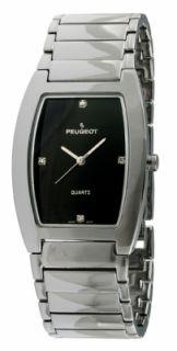 New Mens Peugeot 1018 Stainless Steel Diamond Black Dial Quartz Watch