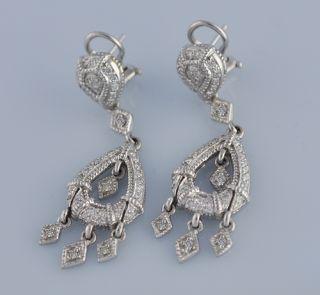 Judith Ripka Diamond Chandelier 18K Gold Earrings