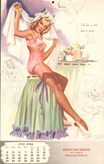 VINTAGE 1950 JUNE Pin up Calendar page 62nd. BIRTHDAY PRESENT GOOD