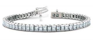 00 Ct Princess Cut Genuine Natural Diamond Tennis Bracelet 14k White