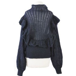 Just Cavalli Dark Blue 100 Mohair Knitted Deep Neck Sweater US L It 44