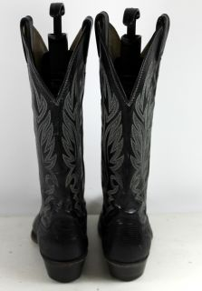 Justin Black Leather Lizard Skin Western Cowboy Womens Boots Sz 6 5 B