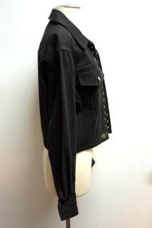 Vtg 80s Mens Junior Gaultier Black Denim Jacket Sz 48