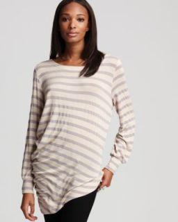 Kain Label New Hadley Beige Striped Long Sleeve Asymmetrical Pullover