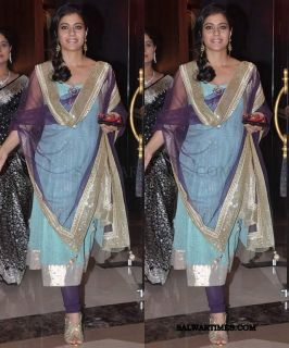 Indian Bollywood Actress Kajol`s Heavy Anarkali Suit with Silver Broad