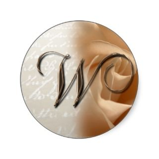 Monogram Letter W 2008 Wedding Envelope Sticker