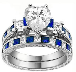 25 Ct Heart Cut Diamond Sapphire Engagement Bridal Ring Band Set 14k