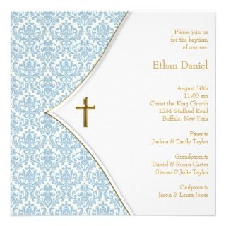 Blue Damask Cross Boy Baptism Christening Personalized Announcements
