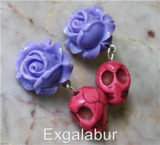 Day of The Dead Frida Kahlo Purple Rose Sugar Skull Turquoise Post