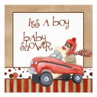 Sock Monkey Pedal Car, Boy Baby Shower Inviaion