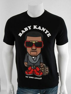 TWO ANGLE Mikany Baby Kanye West Character Print T Shirt   Black   S M