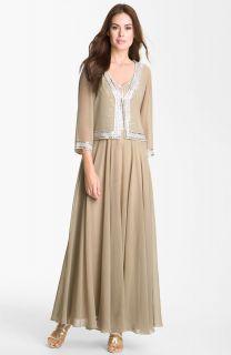 268 Sz 14 J Kara Embellished Chiffon Gown Jacket Mother of The Bride