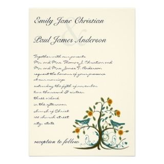 Whimsical Teal Love Bird Tree Wedding Invitation
