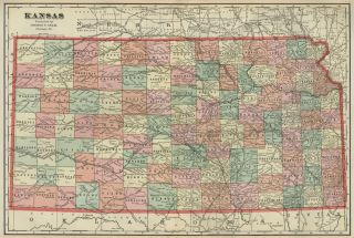 Kansas Map 1899 Counties Towns RRs Topography