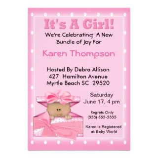 Its A Girl African American Baby Shower Invitations