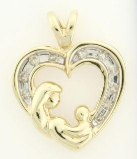 Mother Child 10 Karat Gold 0 14 Carat Diamond Pendant $1 00