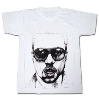 Kanye West Sketch Face Lightweight Graphic White Tee Shirt