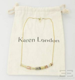 Karen London Gold Silver Rose Gold Tone Beaded Bar Necklace