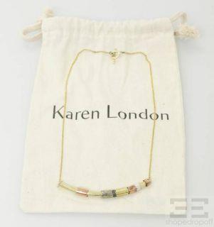 Karen London Gold Silver Rose Gold Tone Beaded Bar Necklace