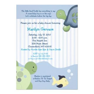 Sea Turtle Baby Shower Invitations, Announcements, & Invites