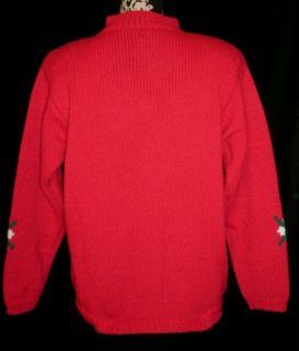 Karen Scott Red Scotty Dog Holiday Christmas Sweater M