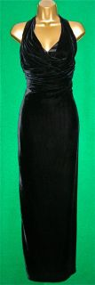 New Karen Millen Long Maxi Black Draped Velvet Halter Evening Dress