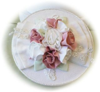 Fabric Covered Wedding Cake Hat Boxes Pleated 5 Taffeta Roses Lace
