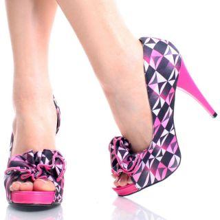 Pink Satin Abstract Print Flower Pumps Womens High Heel Platform Shoes